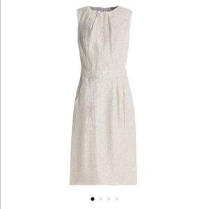 Oscar de la Renta Metallic Silk Cloque Dress